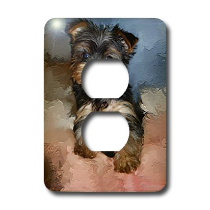 3dRose LLC lsp_3868_6 Toy Yorkie Puppy 2 Plug Outlet Cover
