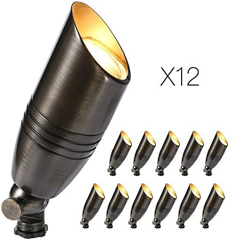 Gardencoin Low Voltage Landscape Lighting Solid Brass Uplight Spotlight Without Bulb 12 Pack