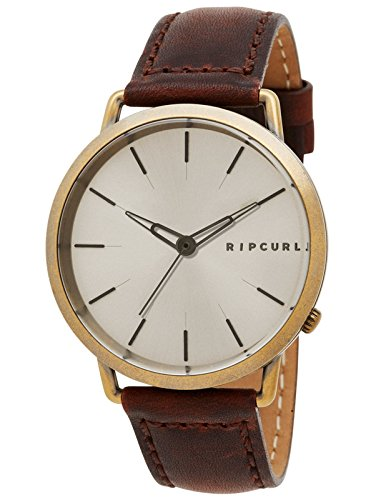 Style Lug Gold Plated (Rip Curl Men's Quartz Stainless Steel and Leather Sport Watch, Color:Brown (Model: A2996-GOL))