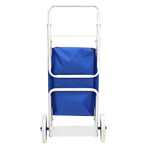 Carro portasillas Plegable de Playa Azul de Acero Garden - LOLAhome: Amazon.es: Hogar