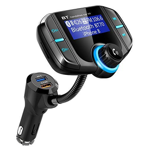 Bluetooth Fm Transmitter for car, Bluetooth Car Transmitter 1.7 Inch Display, QC3.0/2.4A Dual USB Ports, AUX Input/Output, Mp3 Player. by WPWPOO