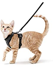 Rabbitgoo Cat Harness and Leash Set for Walking Escape Proof, Adjustable Small Vest Harnesses for Cats with 59 Inches Leash, Small Kitten Leash Harness with Reflective Strips and 1 Metal Leash Ring, Black, XS