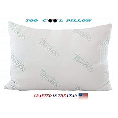 Bamboo Pillow-Stay Cool Pillow-Hotel Quality Fiber Filled in the USA-Machine Washable Hypoallergenic and Dust Mite Resistant-Helps with Snoring, Neck and Back Pain, Insomnia-by FOTE HOME GOODS (Queen)