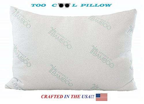 Bamboo Pillow-Stay Cool Pillow-Hotel Quality Fiber Filled in the USA-Machine Washable Hypoallergenic and Dust