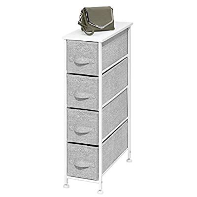 mDesign Narrow Vertical Dresser Storage Tower - Sturdy Metal Frame, Wood Top, Easy Pull Fabric Bins - Organizer Unit for… - 4 DRAWER CHEST: Features 4 removable drawers; Use in or out of the closet and keep clutter under control by storing all of your clothing and accessories in one convenient place; Store and organize workout gear, leggings, yoga pants, sweaters, linens and more; The vertical design fits easily in many locations throughout the home; The narrow footprint is perfect for the laundry room; Mix & match with other mDesign storage organizers for endless organizational possibilities STYLISH SMART STORAGE: This furniture unit stand boasts a slim, light weight design to easily fit into smaller spaces while still providing plenty of storage space; Wood top provides a hard surface to place lamps, books, decor, and more; The generously sized removable drawers have an easy pull handle to make opening and closing simple; Plastic feet will not scratch flooring, and they are adjustable for uneven surfaces FUNCTIONAL & VERSATILE: Create coordinated organization in any room of the house; Great for children, tweens and adults; Use anywhere you want to add a little style to your organizational needs; This easy-to-use chest of drawers can be used in multiple rooms throughout the home; Great for closets, bedrooms, nurseries, playrooms, entryways and more; Ideal for small spaces such as apartments, condos, and college dorm rooms - shelves-cabinets, bathroom-fixtures-hardware, bathroom - 41hrhsdj5LL. SS400  -