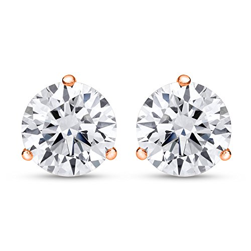 Prong Si2 Clarity Diamonds - 1/2 0.5 Carat Total Weight White Round Diamond Solitaire Stud Earrings Pair set in 14K Rose Gold 3 Prong Push Back (H-I Color SI1-SI2 Clarity)
