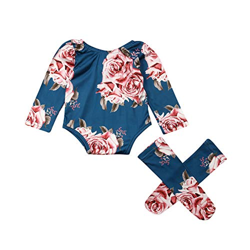 TSEXIEFOOFU Newborn Baby Girls Flower Long Sleeve Romper Jumpsuit+Leg Warmers 3Pcs Outfits Clothes (Blue, 18-24 Months)
