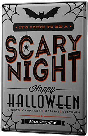 Fred12erica Aluminum Sign, Retro Sign Vintage Tin Sign Metal Wall Plaque PosterFun Kitchen Halloween Scary Night 8