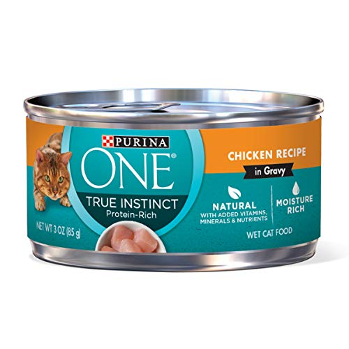 Purina ONE Natural, High Protein, Gravy Wet Cat Food; True Instinct Chicken Recipe - 3 oz. Pull-Top Can, 24 Pack