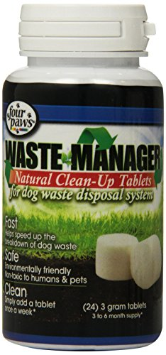 Waste Digester Ground - Four Paws Waste Manager Natural Clean Up Dog Tablets, 24 Count
