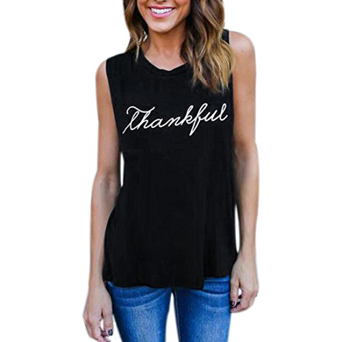 Tank Tops For Women, Forthery 2018 Hot Sale Women's Sleeveless Letter Tops Tee Tanks Camis (Black, US S = Tag M) (Yoga Chart Hot)