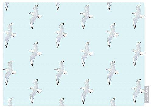 Izabela Peters Design Impermeabile Giardino Esterno Tovaglia - Gabbiani - Brighton Beach Collezione - Progettate Stampato & Fatti a Mano nel Regno Unito (Scelta delle Lunghezze) - Azzurrino
