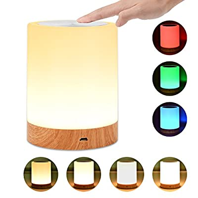 UNIFUN Touch Lamp, Table Bedside Lamps for Bedrooms Living Room Portable Night Light with Internal Battery Dimmable Warm White Light & Color Changing RGB
