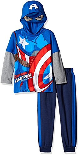 Toddler Captain America Costumes Hoodie (Marvel Little Boys' Toddler Captain America Or Spiderman Costume Hoodie and Pant Set, Blue, 2T)