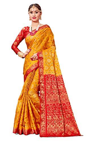 Sarees for Women Banarasi Art Silk Woven Saree l Indian Wedding Gift Sari with Unstitched Blouse Mustard (Women Sarees Red For)