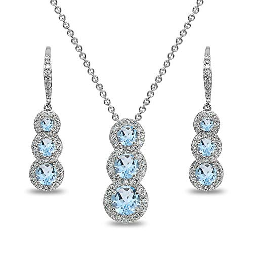 (Sterling Silver Blue Topaz Journey Halo 3-Stone Pendant Necklace & Leverback Earrings Set for Women)