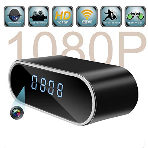 Spy Camera, ispycam Hidden Camera in Clock WiFi Hidden Cameras 1080P Video Recorder Wireless IP Camera Indoor Home Security Monitoring Nanny Cam 140°Angle Night Vision Motion Detection