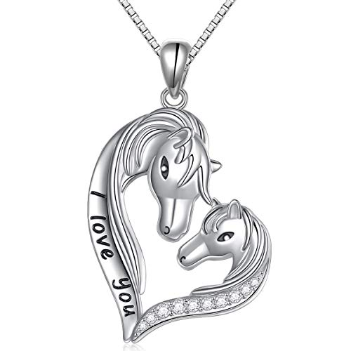 "S925 Sterling Silver Engraved""I love you"" Jewelry Horse Head Love Heart Pendant Necklace Gift for Women Girls"