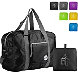 Wandf Foldable Travel Duffel Bag Luggage Sports Gym Water Resistant Nylon, Black