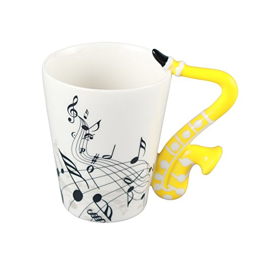 Neolith Novelty Music Coffee Mugs Tea Cup Unique Design Interesting Outline Yellow Mugs Best Gift Love Music Cool Saxophone Holds Tea Coffee Milk Ceramic Mug with Gift Box Art Mug (13.5 oz, (Love Saxophone)