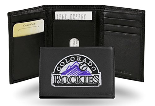 Embroidered Genuine Cowhide Leather Trifold Wallet (Colorado Rockies Mlb Leather)