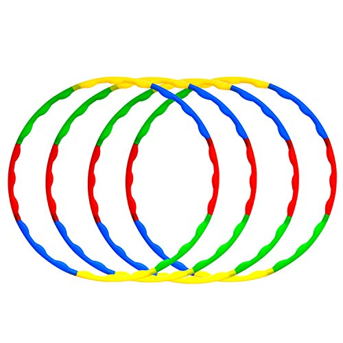 Kids Toy Hoola Plastic Hoop Ring Set for Playing Games,4 Pack 32 Inch Colorful Weighted Fitness Hoops with 8 Section Detachable for Kids Adults