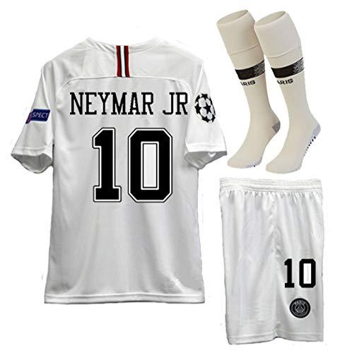 (haobeibei Paris Saint Germain X Away 10# Neymar JR 2018-2019 Kids/Youths Soccer Jersey & Shorts & Socks Size (12-13years Old) White)