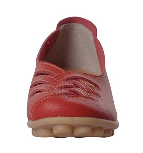 Scarpe Da Sera Piatte In Pelle Vacchetta Serena Slip On Driving Red Shoes