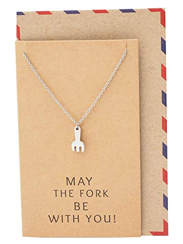 Charm Well Get (Quan Jewelry Fork Necklace, May The Fork Be with You, Star Wars Inspired, Get Well Soon & Good Luck Charm, Gifts for Foodie & Food Lovers, Chef Bakers Charm, Handmade Pendant Necklace)