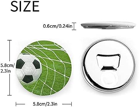Abrebotellas redondas de fútbol de hierba verde / Imanes de nevera Sacacorchos de acero inoxidable Etiqueta magnética 2 piezas