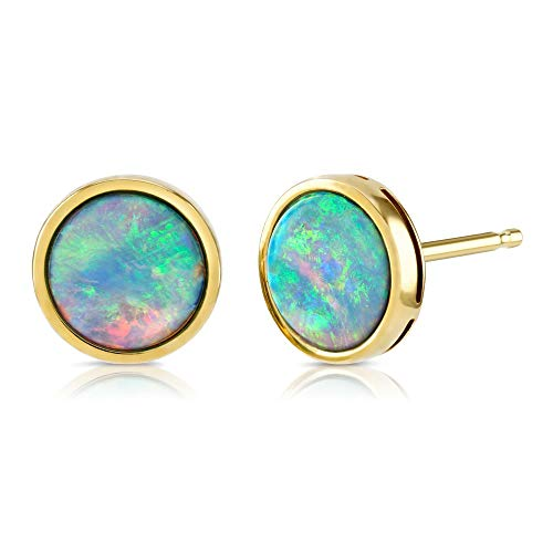 Paul Wright Created Opal Stud Earrings, 10K Yellow Gold, 7mm Round -