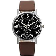 Mens Watches - Minimalist Casual Watches for Men Quartz Timepiece Blue Glass PU Band by Sameno Watch Liberté Relojes