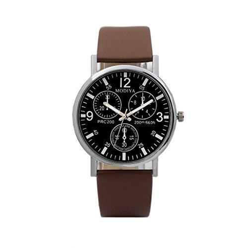 (AOmahh Three-Eye Men's Watch - Quartz Men's Watch Blue Glass Belt Watch)