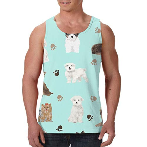 LIN. Summer Mens Undershirt Crew Neck Chocolate Yorkie Maltese Biewer Terriers Cute Toy Sleeveless Vest for Workout Surf Holiday, Hip Pop Regular-Fit Beachwear Jersey Top Tees, Moisture Wicking
