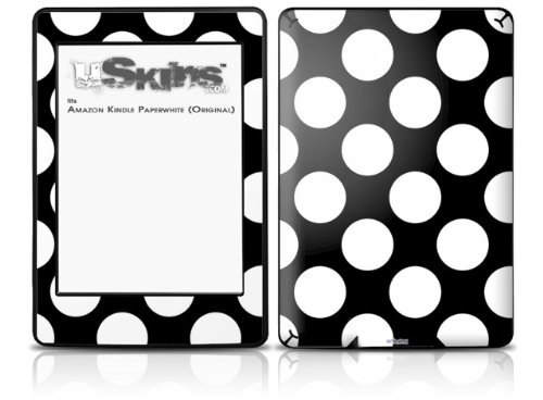 Kearas Polka Dots White On Black - Decal Style Skin fits Amazon Kindle Paperwhite (Original)