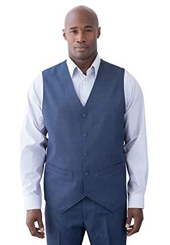 - Ks Signature Men's Big & Tall Easy Movement 5 Button Suit Vest, New Navy Pindot Tall-52