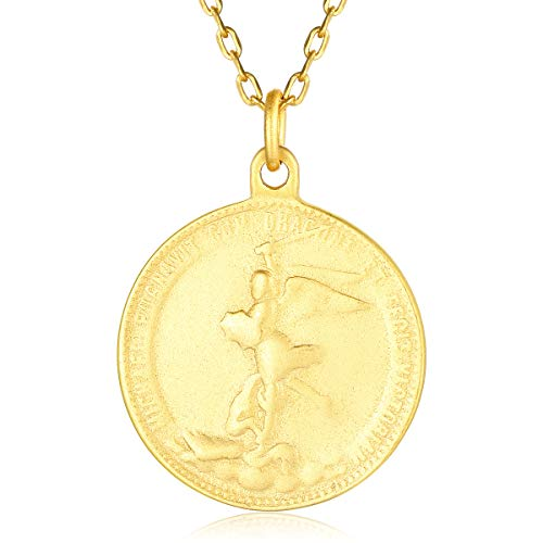 VACRONA Gold Coin Angel Pendant Necklaces,18K Gold Filled Disc Dainty Figure Engraved Handmade Circle Tiny Lucky Special Angel Wing Coin Necklaces Jewelry Gift for ()