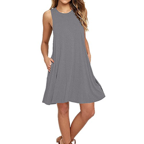 - Sunmoot Sleepwear Swing Dresses for Womens Casual Loose Simple Sleeveless Chemise Soft Cotton Nightgown T-Shirt Dress