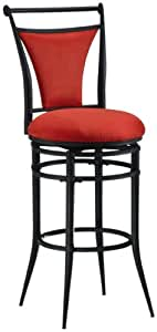 Hillsdale Cierra 30-Inch Swivel Bar Stool, Black Finish with Flame Faux-Suede Fabric