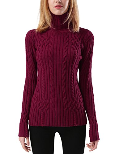Rocorose Women's Cable Knit Long Sleeves Turtleneck Pullover Sweaters Burgundy XL