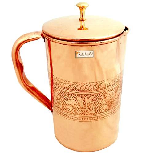 Prisha India Craft Pure Copper Jug Water Pitcher, 1.6 L
