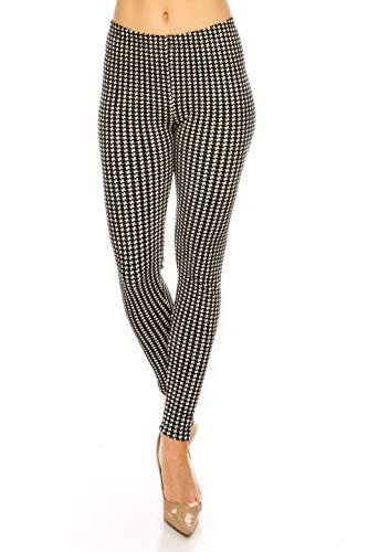 ALWAYS Women Houndstooth Velvet Leggings - Premium Soft Stretch Warm Winter Plaid Checkered Printed Patterned Pants Regular Size ()