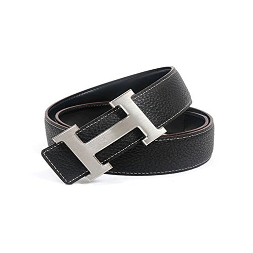 Replica Leather Belts - Fashion Leather Metal Buckle Unisex Belt Casual Business (1.5inch wide)