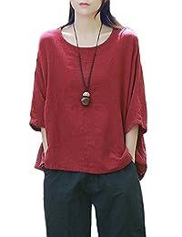 Women Vintage Half Sleeve Scoop Neck Casual Cotton Linen Loose T-Shirt Blouse Top Tee