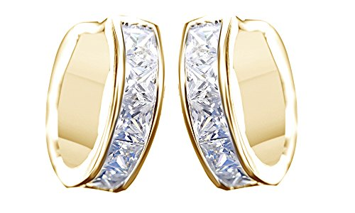 Princess Cut White Cubic Zirconia Square Huggies Hoop Earrings In 14k Yellow Gold Over Sterling Silver
