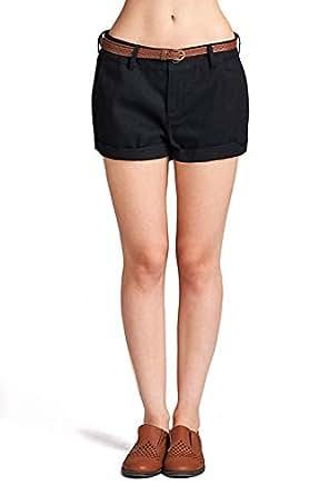 Emmalise Women's Casual Comfortable Fashion Summer Shorts w Back Pockets - Flat Front Black, S