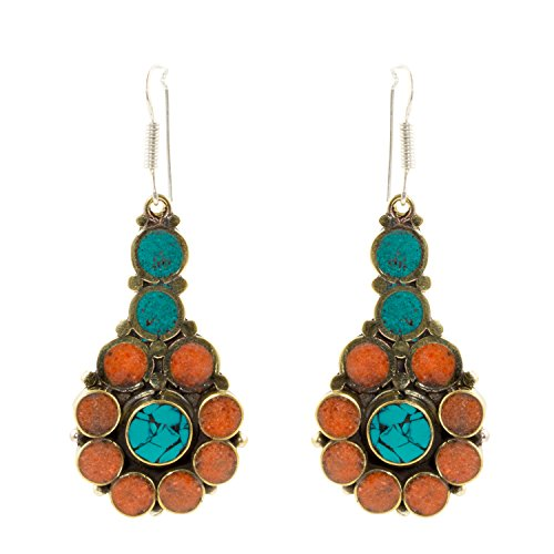 Tibetan Treasures - Tibetan Handcrafted Antiqued Goldtone Red Shell and Turquoise Chips Accents Dangle Earrings