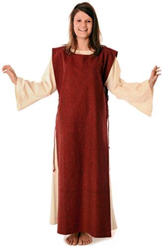 mit HEMAD reine Baumwolle Mittelalter Leinenstruktur naturbeige Beige Rot mit S Kleid Damen Skapulier XL xgTgnAq