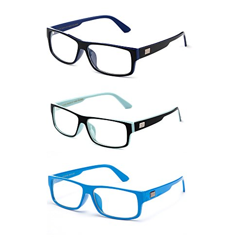 Newbee Fashion - Kayden Retro Unisex Plastic Fashion Clear Lens Glasses 3 Pack Blue