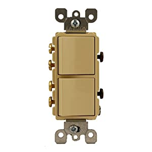 Leviton 5643-I 15 Amp, 120/277 Volt, Decora Brand Style 3-Way / 3-Way AC Combination Switch, Commercial Grade, Grounding, Ivory
